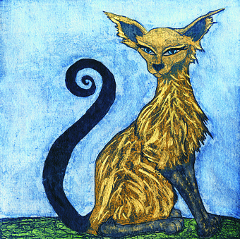Purrfect embellished etching by Troy Ohlson
