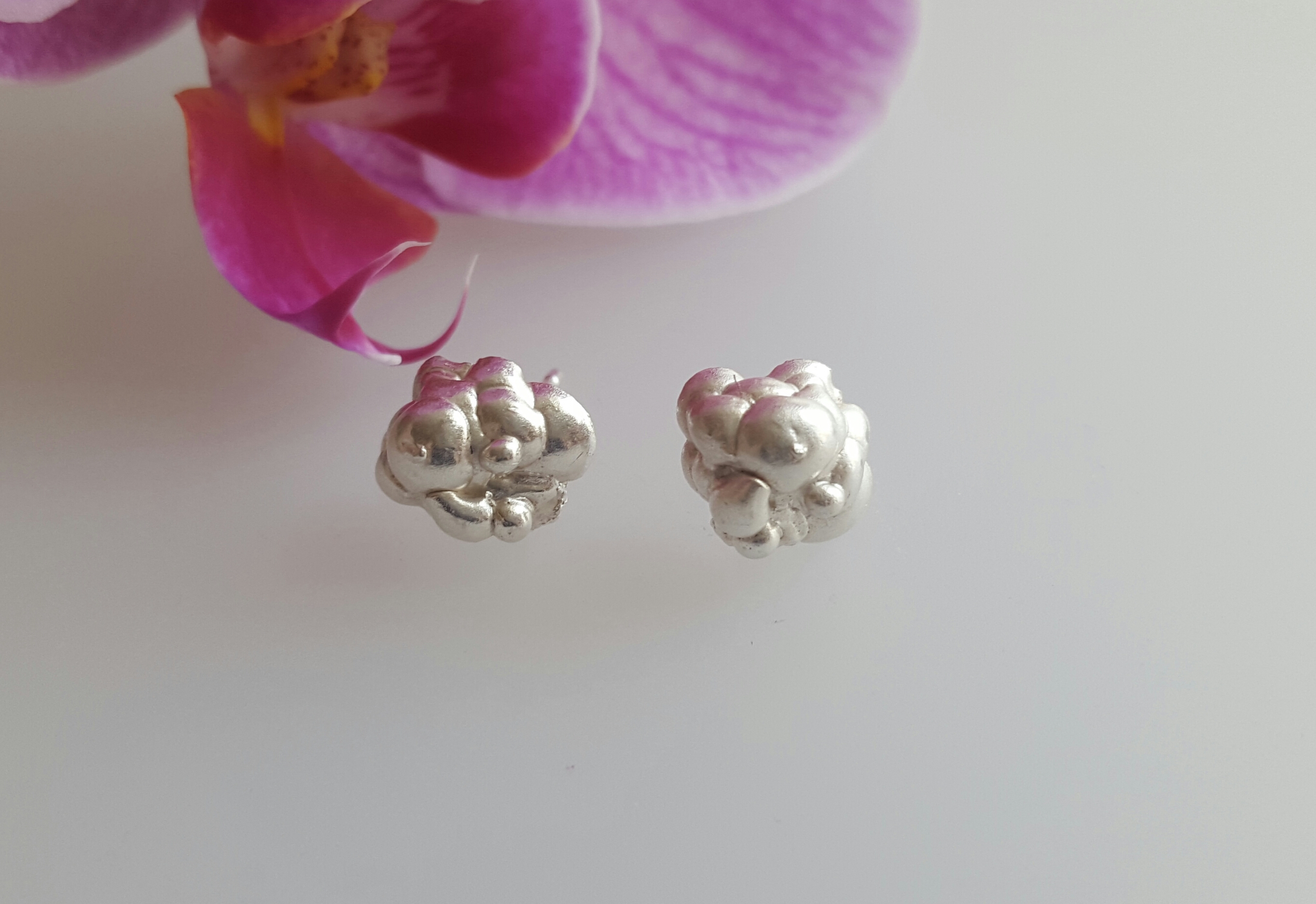 Sterling silver cloud earrings chunky d