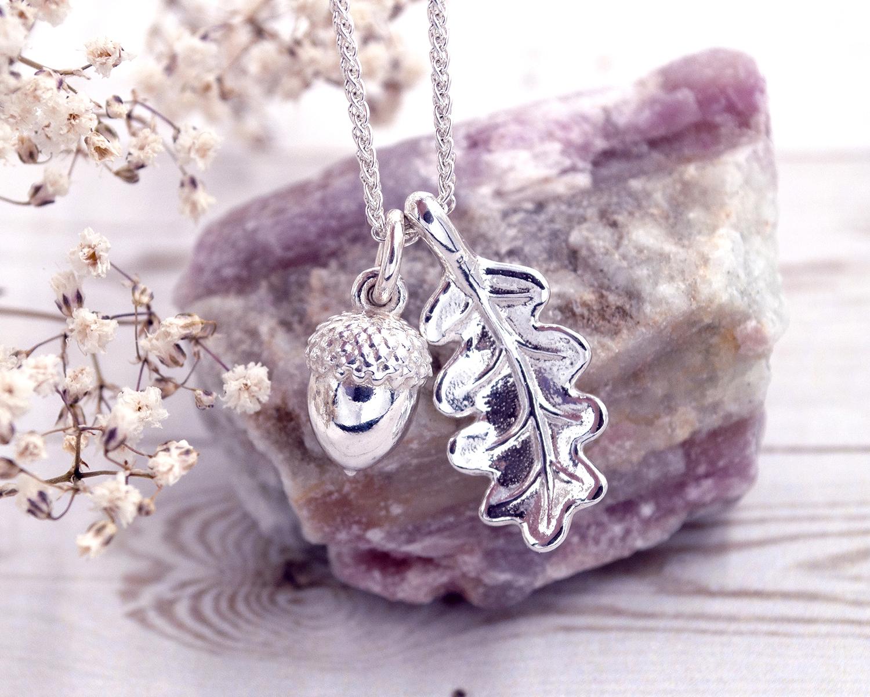 Acron and oak leaf - - Jade silver designs jewellery