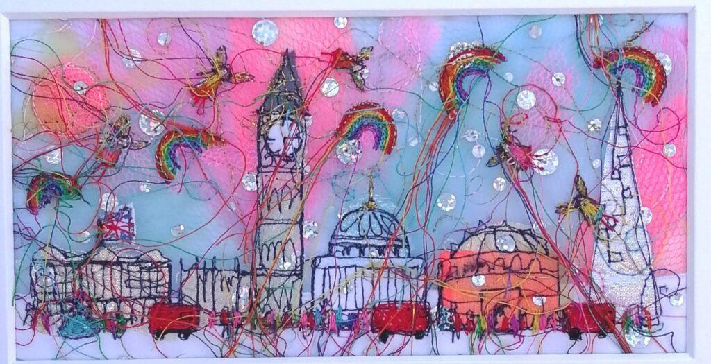 heidi rhodes textiles - London Skyline embroidered original art