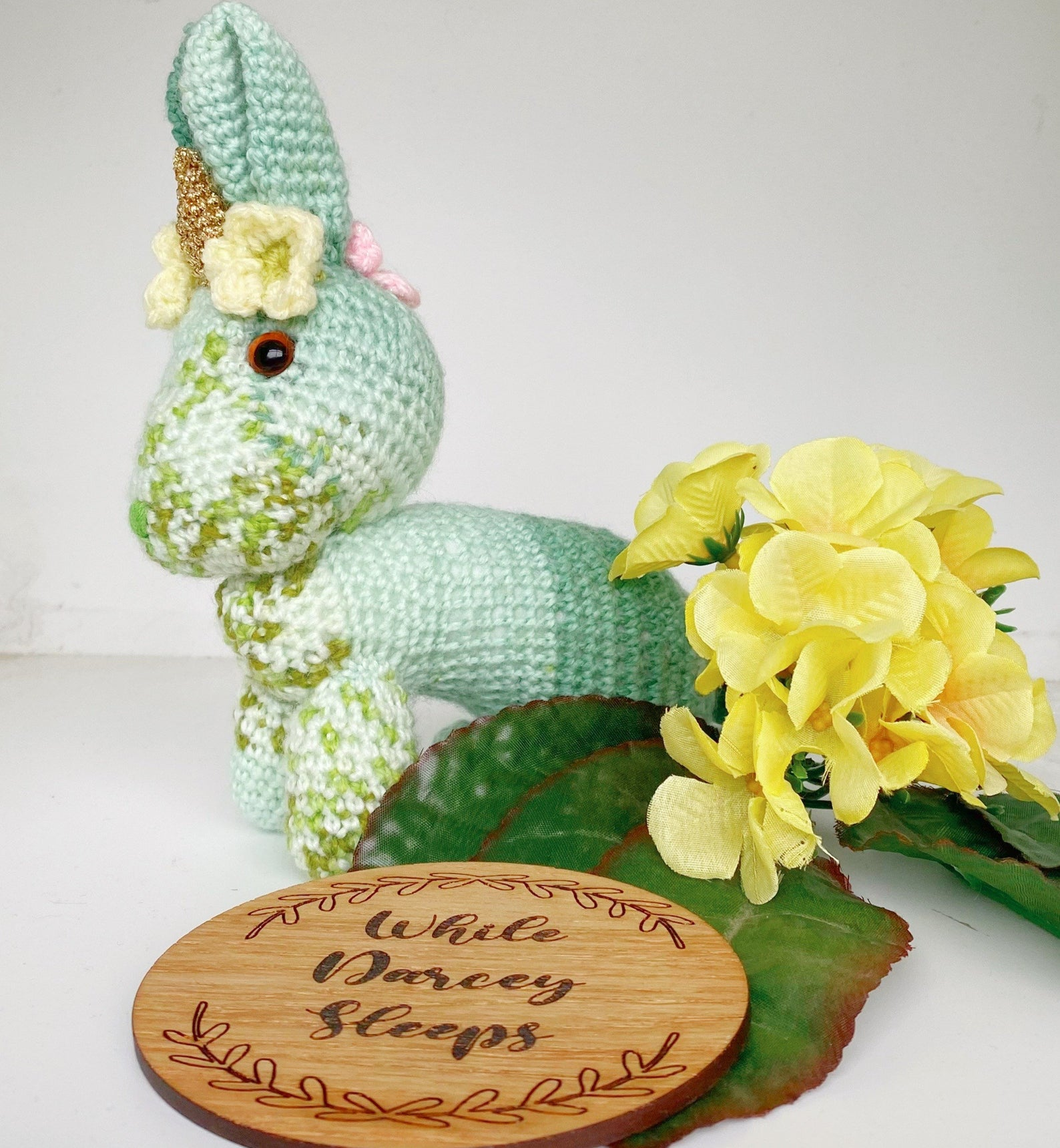 handmade crochet rabbit unicorn