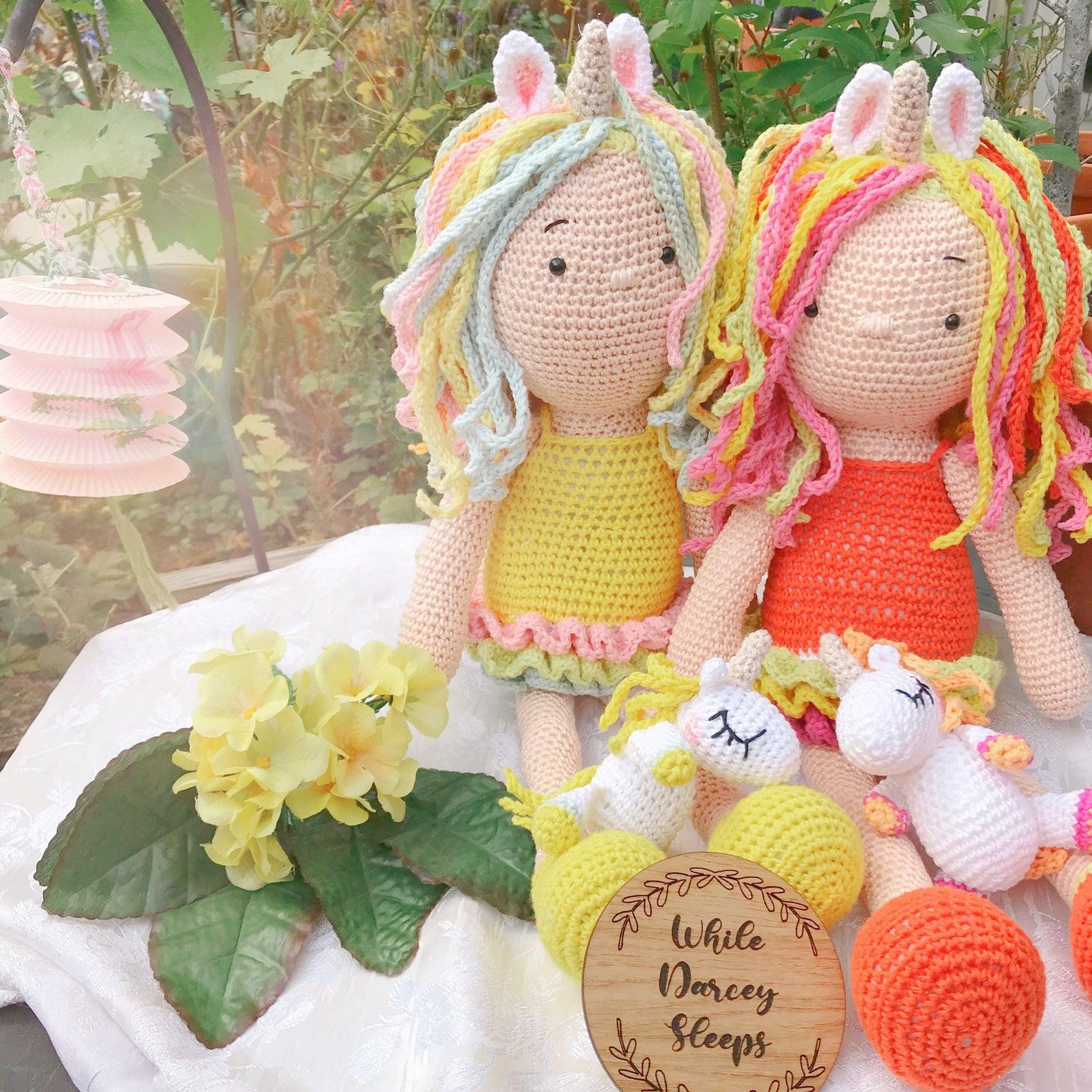 handmade crochet doll and pet